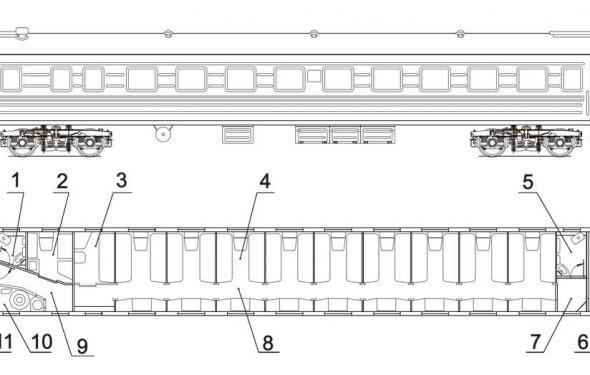 Схема пассажирского вагона купе
