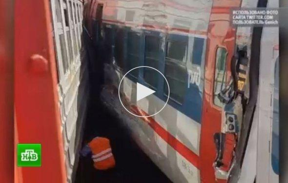 В Москве на Курском вокзале поезд столкнулся с электричкой: фото